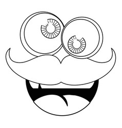 funny face mustache vector image vector image