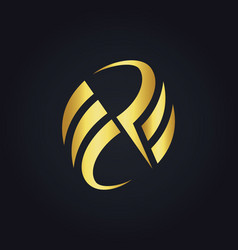 gold abstract circle letter p logo vector image vector image