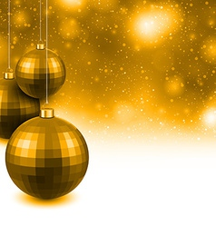 Golden background with christmas balls vector image vector image
