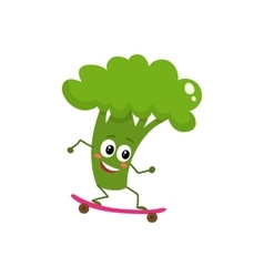 Happy ripe broccoli riding a skate vector image
