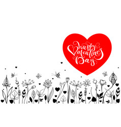 happy valentines day lettering text greeting card vector image vector image