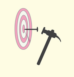 Hit nail in target by hammer abstract target vector
