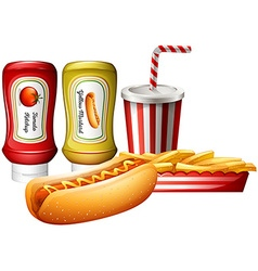 Hotdog and fries with two kind of sauces vector