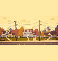 Houses suburb of big city in autumn cottage real vector