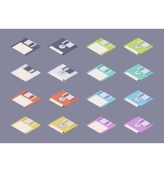Isometric flat colored floppy disks diskettes set vector