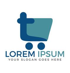 letter t shopping logo design vector image vector image