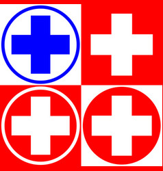 medical cross set of medical symbols options vector image