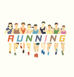 Men and women running with text running vector