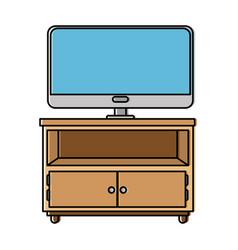 nightstand bedroom with tv plasma vector image
