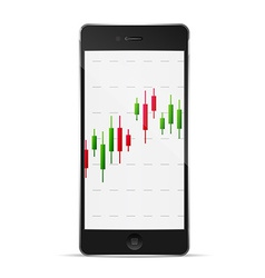 phone with forex chart on desktop vector image