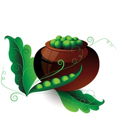 Pot of green peas vector image vector image