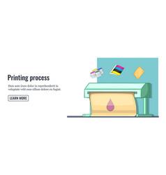 Print process banner horizontal man cartoon style vector