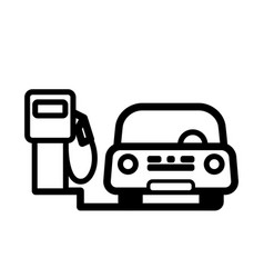 Red passenger car at gas pump vector