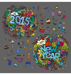 Set of 2015 and New Year hand lettering and vector image