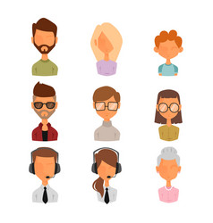 Set of people portrait face icons web avatars flat vector