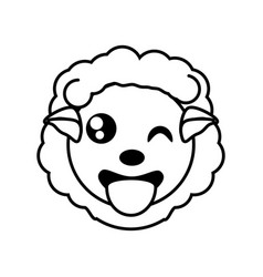 sheep face animal outline vector image