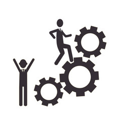 Silhouette gear wheel icon and men figure vector