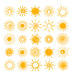 sun doodle icons set vector image vector image