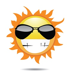 Sun with funny face vector image vector image