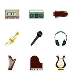 Tools for music icons set flat style vector