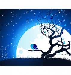 tree moon vector image