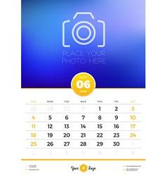 Wall calendar template for 2017 year june design vector