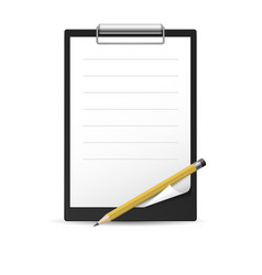 Yellow pencil and notepad icon on white vector