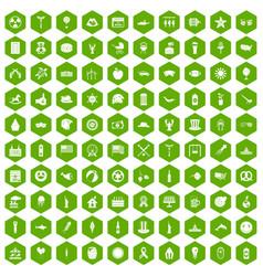 100 summer holidays icons hexagon green vector image