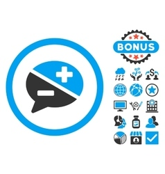 Arguments flat icon with bonus vector