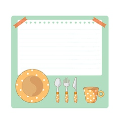 Tableware and notepad cartoon vector