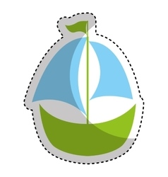 Sailboat toy isolated icon vector