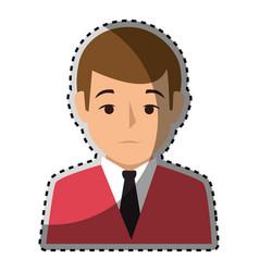 Sticker colorful half body man formal style vector