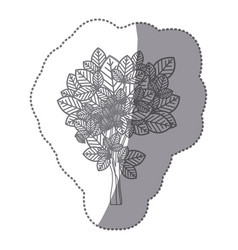 Sticker gray color leafy tree with ramifications vector