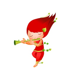 Close-up of girl playing flute vector