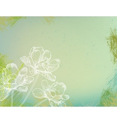 Flowers over green watercolor brushstrokes vector