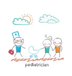 pediatrician came to the sick child in the vector image