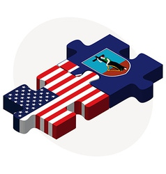 Usa and montserrat flags in puzzle vector
