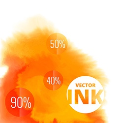 Water ink splash burst in orange color vector