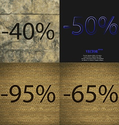 50 95 65 icon set of percent discount on abstract vector