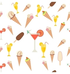 Ice cream and drinks seamless pattern vector image