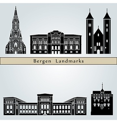 Bergen landmarks and monuments vector