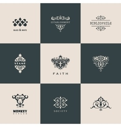 Logos set calligraphic patterns book vector