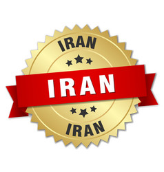 Iran round golden badge with red ribbon vector