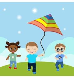 Running children with flying kite vector image