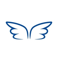 A pair of blue contour wings icon simple style vector image