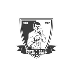 Boxing club logo icon with boxing man vector