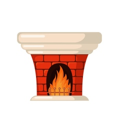 Brick fireplace icon in flat style vector