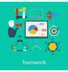 Business teamwork flat design vector image