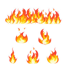 cartoon fire flames set and line vector image