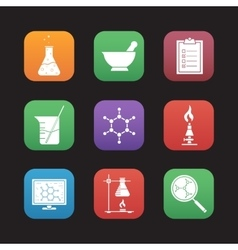 Chemical laboratory icons vector